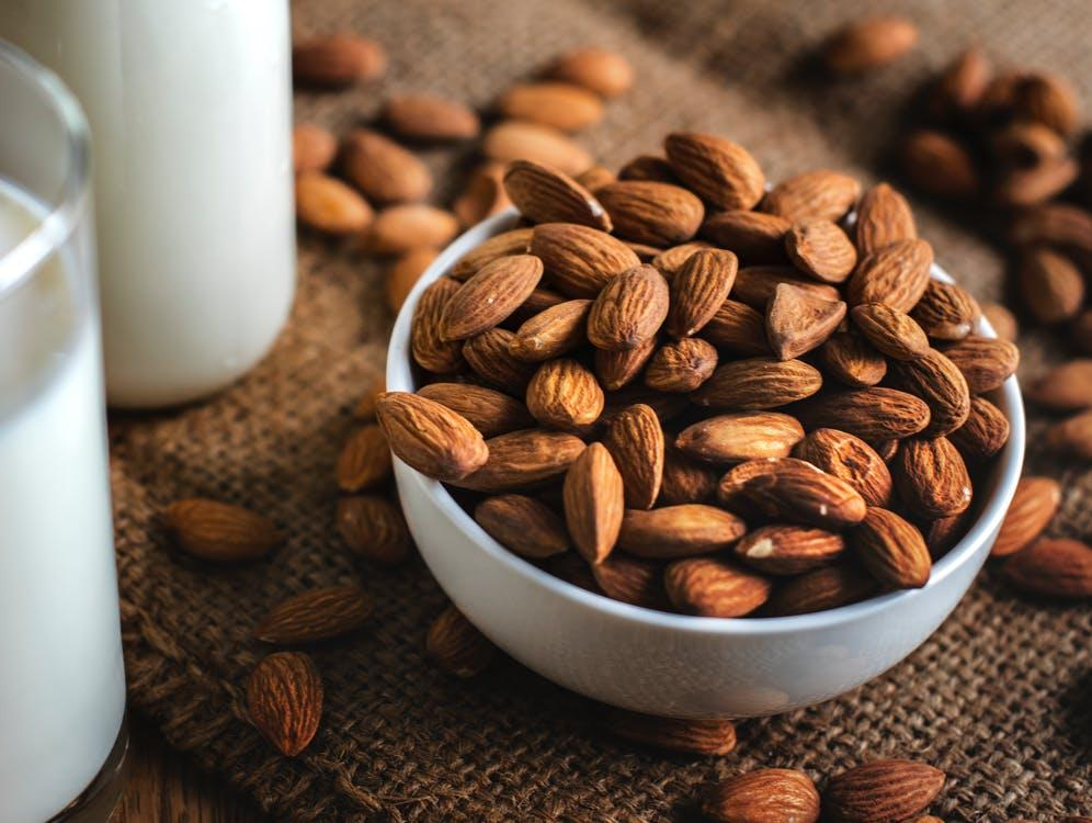 Brown Almonds in Bowl